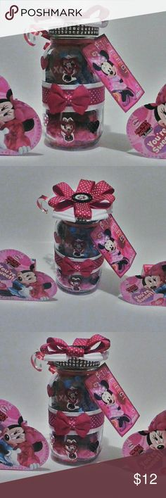 "Minnie Mouse Valentine's ""Love in a Jar"" 32oz jar filled with a variety of candy. Comes with 1-2oz box of chocolate hearts. Comes gift wrapped!!! Bundle for a deal...Discounts on purchases of more than 1!!!!!!Comment below!!!! Other"