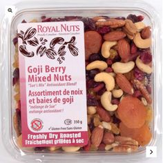 Royal Nuts is the first - and only - purveyor of gluten-free and peanut-free nuts, seeds and dried fruit in North America! Proudly Canadian! Goji Berry Mixed Nuts contain golden raisins, cashews, almonds, cranberries, apricots, goji berries, pecans. SEE:  https://royalnuts.ca/en/shop/nuts/goji-berry-mixed-nuts/