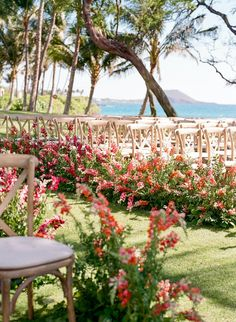 This wedding has an eclectic garden party style, without being too tropical. Click through to see this full Hawaiian event on PartySlate. Wedding Isles, Flower Petals, Party Fashion, Hawaiian, Wedding Ceremony, Destination Wedding, How To Memorize Things, Dream Wedding, Backyard