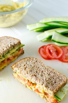 Cucumber Sandwich with Turmeric White Bean Spread - this gluten-free vegan recipe makes a clean, quick and easy lunch. Adding a slice of onion will provide an extra bit of zip | VeggiePrimer.com