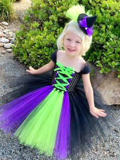 Witch Costume- Halloween Costume - Witch's Costume- Witch Hat- Tutu Dress- Wizard of Oz Costume- Wicked Witch Costume- Witch Dress