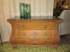 280, tv stand for tommy room Handsome Bombay Co. three drawer chest in a medium finish with gray stone top. 47