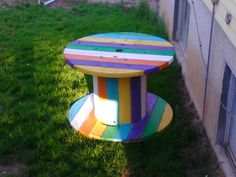 Large electrical spool- painted for an outdoor table.