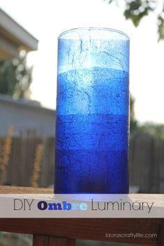 DIY ombre tissue paper luminary