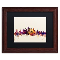 Michael Tompsett 'Philadelphia Skyline IV' Matte, Wood Framed Wall Art