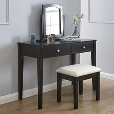 Black Dressing Table Set With Stool and Adjustable Mirror Bedroom Furniture for sale online Mirrored Bedroom Furniture, Bedroom Furniture For Sale, Bedroom Decor, Bedroom Ideas, Black Dressing Tables, Dressing Table With Stool, Black And White Chair, Black Table, White Chairs