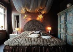 Moody Bedroom with Mandala Headboard