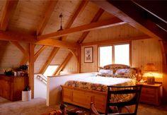 Timber frame home bedroom