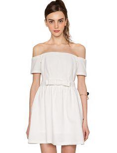 White Off the Shoulder Dress - Cute Summer Dresses -Pixie Market