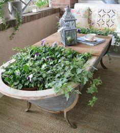 bañera vieja mesa jardinera terraza
