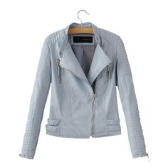 Pastel Faux Leather Biker Jacket
