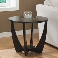 @Overstock.com - Archer Espresso End Table with Shelf - Lend your space a stylish air with this espresso birch end table. This end table features a rounded top with a glass insert and solid-wood legs with non-marring foot glides. A bottom storage shelf on this table makes it as functional as it is lovely.  http://www.overstock.com/Home-Garden/Archer-Espresso-End-Table-with-Shelf/5230238/product.html?CID=214117 $119.99