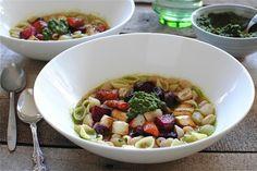 Roasted Vegetable and Pesto Minestrone via Bev Cooks.