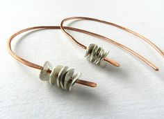 Hoop Earrings Silver Copper Hammered Jewelry by MaartjeJewels, $29.00