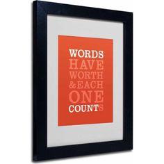 Trademark Fine Art Words Worth II Canvas Art by Megan Romo, Black Frame, Size: 11 x 14, Multicolor