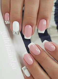 Nail Designs French Tip Picture the beautiful french tip nails designs are so perfect for Nail Designs French Tip. Here is Nail Designs French Tip Picture for you. Nail Designs French Tip the beautiful french tip nails designs are so perfec. Frensh Nails, Pink Nails, Hair And Nails, Manicures, Nails 2018, Green Nails, Toenails, Fancy Nails, Cute Nails