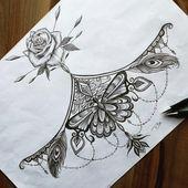 Mandala mit Rose Tattoodesign Vorlage  #brust #tattoo #frau #vorlagen #tattoodes
