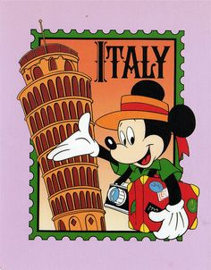 Mickey mouse Epcot postcards | Mickey in Italy postcard