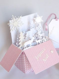 Christmas card pop up card card box pink and white.