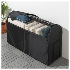 TOSTERÖ Storage box, outdoor, black, 50 This waterproof storage box protects your outdoor pads and cushions and helps you organize them when they're not being used. It's easy to move and takes up little space – perfect to place by a wall. Outdoor Storage Boxes, Patio Storage, Outside Storage, Shed Storage, Under Deck Storage, Storage Area, Storage Baskets, Garden Cushion Storage, Pillow Storage
