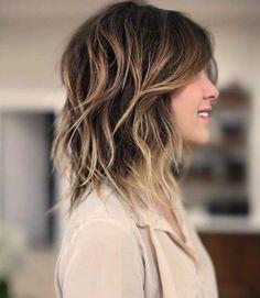 Mid length hair with waves. A great haircut with movement, fresh haircut for medium length hair. ANH CO TRAN.