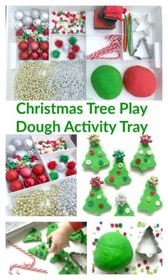 Christmas Tree Play Dough Tray - The Imagination Tree Christmas Activities For Toddlers, Preschool Christmas, Toddler Christmas, Holiday Activities, Christmas Crafts For Kids, Preschool Crafts, Holiday Crafts, Spring Crafts, Christmas Tree Themes