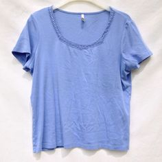 *FINAL SALE*Periwinkle Detailed Top Beautiful periwinkle top with lattice detailing at neckline  Gorgeous color and in pristine condition. White Stag Tops Tees - Short Sleeve