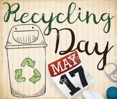 Recycle Bin Doodle and Recyclable Elements for Recycling Day Recycling Bins, Free Vector Art, Geo, Calendar, Doodles, Life Planner, Recycling Containers, Donut Tower, Doodle