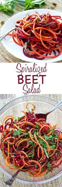 Fresh beets are made into noodles, tossed with a simple orange vinaigrette, and topped with fresh mint and pistachios. Perfect light salad!