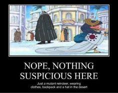 One Piece anime_ Funny Arabasta (Alabasta) Chopper_ Crocodile_ Suspicious