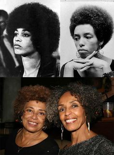 Angela Davis and sister Fania Davis Jordan then and now