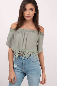Have fun with the Haven Off Shoulder Crop Top. Featuring a off shoulder neckline. Pair with denim shorts. - Fast & Free Shipping For Orders over $50 - Free Returns within 30 days!