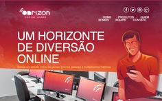 Colorful one page website for an online gaming company called 'Onrizon Social Games'