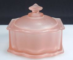 vintage pink frosted glass powder box