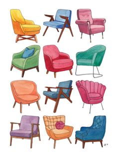 Please Take a Seat. Bright and colorful chair print design. Original watercolor illustration by Kirsten Burgess. Perfect for home decor! Interior Architecture Drawing, Interior Design Renderings, Interior Sketch, Watercolor Architecture, Classical Architecture, Drawing Furniture, Chair Drawing, Illustration Sketches, Watercolor Illustration