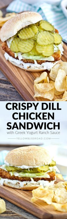 Reminds me of pork chop sandwiches in Montana. Crispy Dill Chicken Sandwich with Greek Yogurt Ranch Spread! Looks like a yummy dinner recipe. Dill Chicken, Chicken Salad, Crispy Chicken Wraps, Crispy Chicken Burgers, Fried Chicken Sandwich, Chicken Patties, Grilled Chicken, Beste Burger, Snacks Für Party