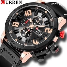 Watches For Men 2018 Fashion Big Dial With Chronograph Leather Wrist Watch CURREN New Arrival Calendar Business Montre Homme Military Style Watches, Watch Necklace, Luxury Watches For Men, Unique Watches, Casual Watches, Sport Watches, Men's Watches, Fashion Watches, Chronograph