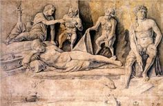 Mythological Scene, Metamorphoses of Amymone - Andrea Mantegna.  c.1500