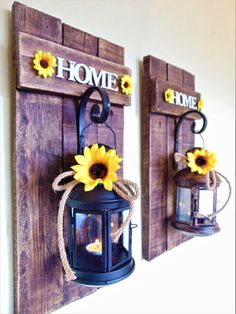 "Set of 2 ""Home"" Wooden Sconces with Lanterns,Sunflower Home Decor,Rustic Lantern. Kitchen iDeas Kitchen iDeen 🍳 lanterns Set of 2 ""Home"" Wooden Sconces with Lanterns,Sunflower Home Decor,Rustic Lantern. Shabby Chic Vintage, Shabby Chic Decor, Rustic Decor, Barn Wood Decor, Rustic Signs, Rustic Lanterns, Moroccan Lanterns, Rustic Lamps, Lanterns Decor"