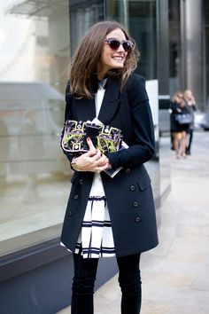 "London Street Style... Olivia Palermo ""I'm wearing a Tibi dress with a Rachel Zoe coat."" Photo By Dvora"