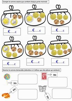 Locke: First class money cards Money Activities, Educational Activities, Activities For Kids, Money Worksheets, Subject And Verb, Teaching French, Math For Kids, Math Games, Kids Education