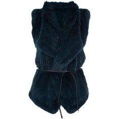 Vince Draped Fur Gilet ($1,295) ❤ liked on Polyvore featuring outerwear, vests, pocket vest, fur waistcoat, fur vest, fur gilet and blue fur vest
