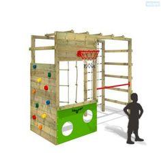 Klimtoren CleverClimber Club XXL. De kinderen kunnen bij dit klimtoestel op de ladder klimmen, aan de rekstang hangen en voetballen. Bezoek de webshop!