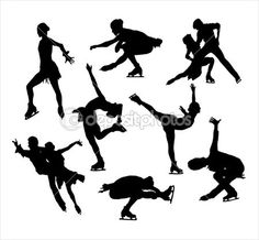Figure skating silhouette vectors