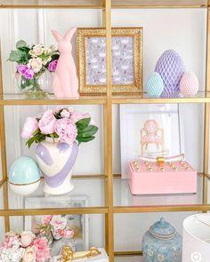 Spring shelf styling. gold shelf. Pink, purple and blue spring decor. Easter Decor. Ginger jar decor. Shop this beautiful brushstroke ginger jar at www.shoplohome.com