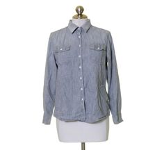 Gap 1969 Gray Sunwashed Chambray Button Front Cotton Shirt Size L #GAP #ButtonDownShirt #Casual