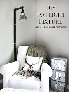 DIY PVC Light Fixture Tutorial at designdininganddiapers.com