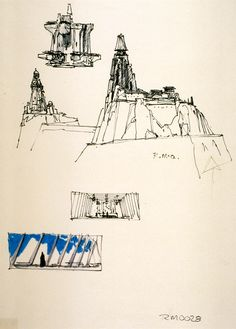 More concept sketches of Darth Vader's castle by Ralph McQuarrie.