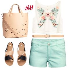 H&M: mint shorts by bodangela on Polyvore featuring H&M