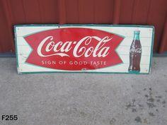 VINTAGE COCA COLA COKE SODA POP DRINK FISHTAIL SIGN MCA METAL ADVERTISING RARE…